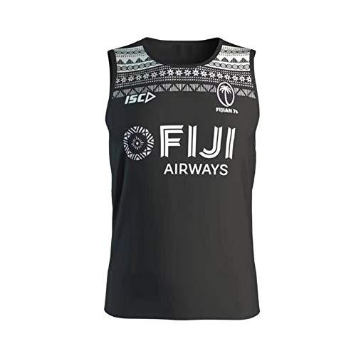 Camiseta de Rugby 2018-19-20 Chaleco de Rugby Fiji Jersey de fútbol Americano, Sudadera Deportiva de Manga Corta Unisex Fitness Bordado Transpirable Limpieza repetible Mejor Regalo-Black-XXL