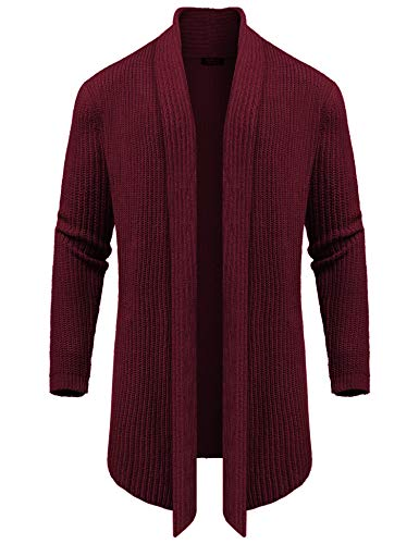 COOFANDY Men's Long Sleeve Cardigan Sweater Shawl Collar Thermal Open Front Longline Sweater