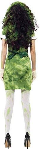 SMIFFYS Costume Donna Rischio Biologico, Verde, comprende Abito, Grembiule, Cappello, Ma