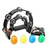 SUNYIN Tambourine,Metal Jingles Foot Tambourine Hand Held Percussion 9' Hand Tambourine Percussion with Egg Shaker For Baby Education And Parties