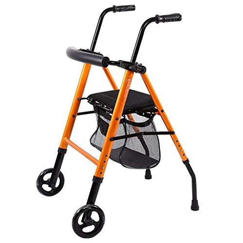 Relaxbx Klappbarer Rollator-Gehwagen mit 6-Zoll-Rädern und Sitz, Rollator-Gehwagen für Senioren, höhenverstellbar von 78 bis 98 cm, orange
