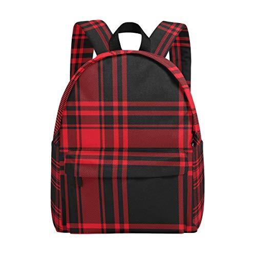 Retro-Rucksack, Schwarz / Rot kariert, für Kinder / Studenten / Mädchen / Damen / College-Rucksack, modisch, für Reisen