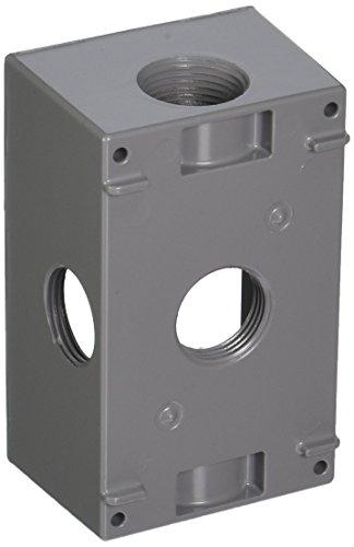 Hubbell-Bell 5332-0 Weatherproof Electrical Box, 1 Gang, 18.3 Cu-in, 4-1/2 in L X 2-3/4 in W X 2 in D, 3/4 Inch, Gray
