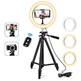 10'' Ring Light with 50'' Extendable Tripod Stand, Sensyne LED Circle Lights with Phone Holder for Live Stream/Makeup/YouTube Video/TikTok, Compatible with iPhone/Android-Warm