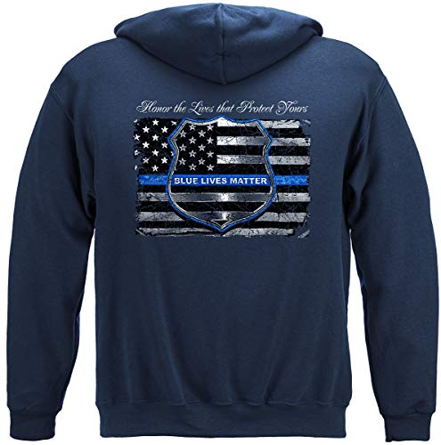 Erazor Bits Law Enforcement Hoodie - First Responders Hooded Sweat - Thin Blue Line Long Sleeve Shirts -THF2293SWL