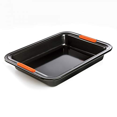 Le Creuset Antihaft Backform, Rechteckig, 33 x 23 cm, PFOA-frei, Sauerteigbeständig, Aus Karbonstahl gefertigt, Anthrazit/Orange