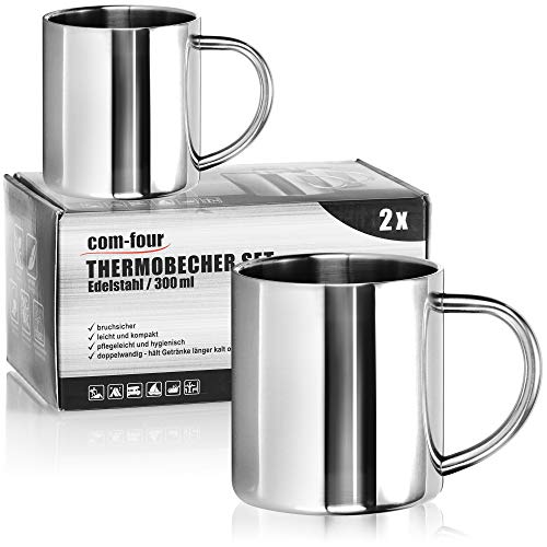 com-four Taza de café de acero inoxidable - Taza de café - Taza termo-bebedora hecha de acero inoxidable - Taza con aislamiento de doble pared - SIN BPA (300ml)