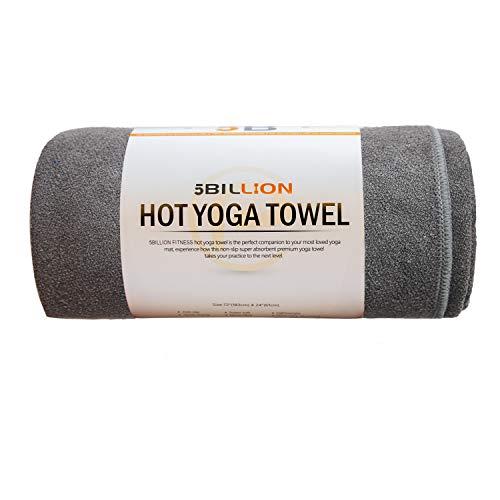 5BILLION Mikrofaser Yoga Handtuch für Yogamatte - 183 cm x 61 cm - Hot Yoga Handtuch, Bikram Yoga Handtuch, Ashtanga Yoga Handtuch - Non Slip, Super Saugfähig - Frei Tragetasche (Grau)