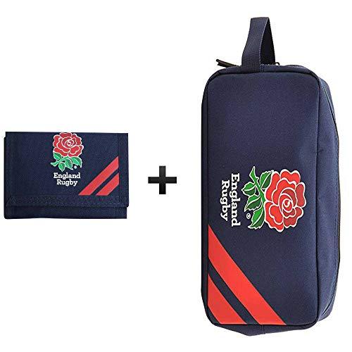 England Offizielle Premium RFU Rugby Kulturtasche & Geldbörse Geschenkset