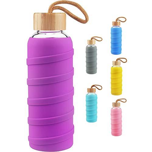SHBRIFA Botella de Agua de Vidrio de Borosilicato Deportivo 480ml / 1000ml / 1 Litre, Botella de Agua de Cristal con Funda de Silicona y Tapa de Bambu a Prueba de Fugas(480ml Violeta)