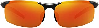 Fashion Colorful Blue/Orange/Green Men's Polarized Driving Sunglasses Sports Aluminum and Magnesium Material Half Frame Sunglasses Retro (Color : Orange)