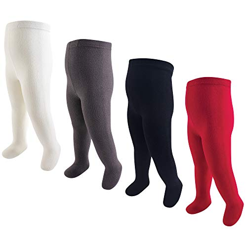 Hudson Baby Girls' Cotton Rich Tights, Red Navy, 18-24 Months