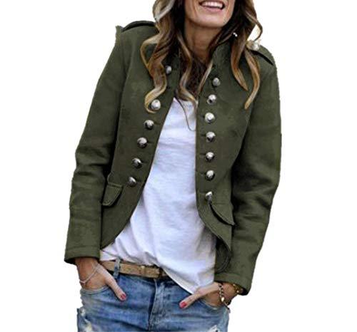 GWEI - Elegante chaqueta de traje para mujer con botones, estilo militar, corte ajustado, para el tiempo libre, para el cuello alto, para el trabajo, la oficina verde M