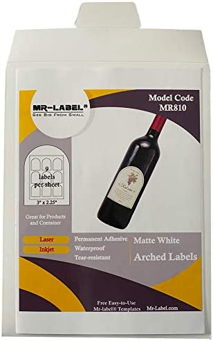 Mr Label 3 x 2 25 Arched White Sticker Label Waterproof and Tear Resistant for Inkjet Laser product image