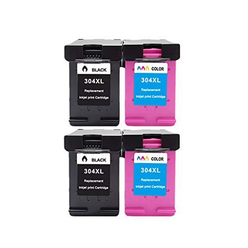 WENAN Cartuchos de la Impresora 304 Tinta Cartucho 304xl Versión para HP 304 XL Deskjet Envy 2620 2630 2632 5030 5020 5032 3720 3730 5010 Impresora Cartucho de Tinta (Color : 2Black 2Color)