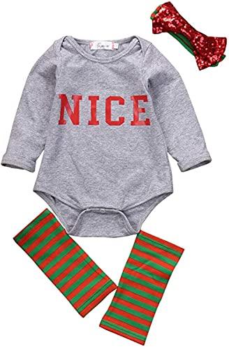 Recién Nacido Bebé Niñas Carta Bonito Body Ropa Conjunto Bebé Niña Niños Bodis+Diadema+Leggings Ropa Trajes, gris, 3 mes