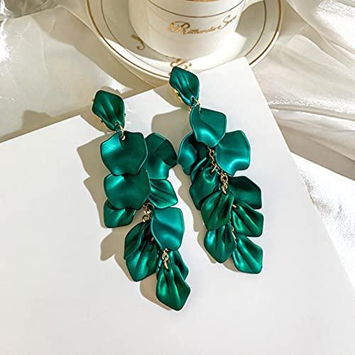 CXWK Pendientes Colgantes de pétalos de Flor de Rosa con Borla Larga, Pendientes de Gota de circonita de Perlas exageradas a la Moda para Mujer, joyería