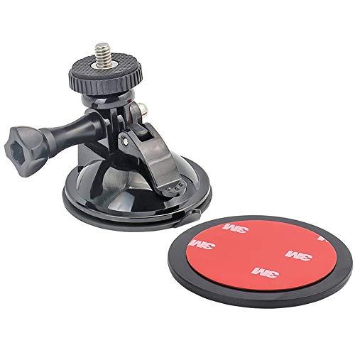 woleyi Suction Cup Mount voor GoPro, Voertuig Camera Mount Met 3M Kleefschijf voor GoPro Hero 2018 Fusion 7, 6, 5, 4, Session, 3+, 3 Ation Camera's, Perfect voor Auto Voorruit en Raam