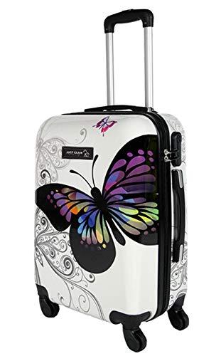 Trolley da cabina 50 cm valigia rigida 4 ruote in abs policarbonato stampato a fantasia antigraffio e impermeabile compatibile voli lowcost come Easyjet Rayanair art farfalla