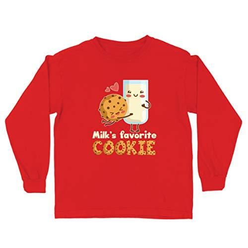 lepni.me Camiseta para Niño/Niña La Galleta Favorita de Milk, un simpático Dibujo Animado Que combina con la diversión (9-11 Years Rojo Multicolor)