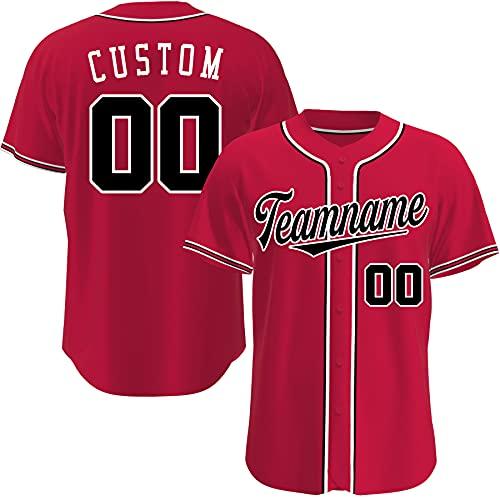 Custom Baseball Jerseys Personalized Retro Basketball Crossover Baseball Shirts for Mens Womens Youth (Red Black 2)