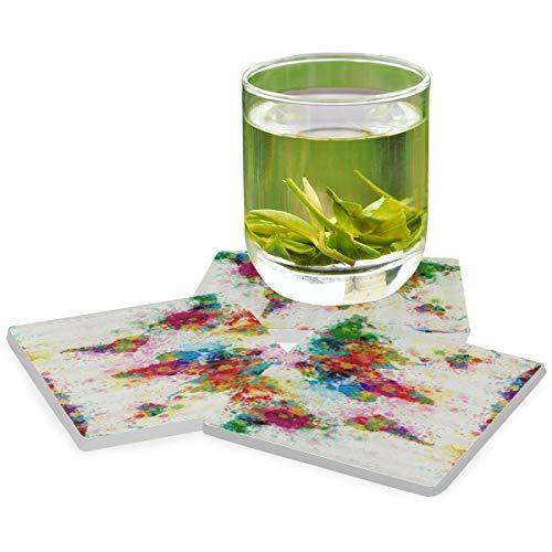 PANILUR Farbkreative Inkjet-Weltkarte,Untersetzer Saugfähige Keramik,für Tassen Tisch Bar Glas(4 Packs)
