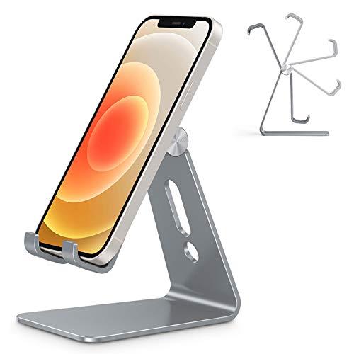 OMOTON Soporte Teléfono Móvil Mesa, Base para Móvil Ajustable de Escritorio, Apoyo para Teléfono de Aluminio para iPhone 12/11/XR/SE 2020, Redmi Note 9/8/8 Pro/7, Samsung y Otras Smartphones, Gris