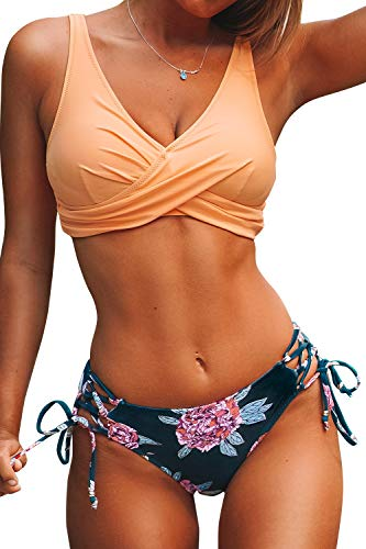 CUPSHE Women's Peach and Purple Floral Front Cross Lace Up Bikini Medium