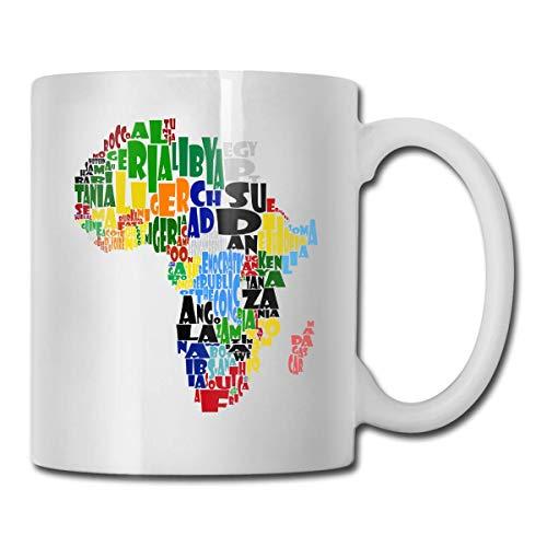 Der große Kontinent Afrika Lustige Kaffeetasse Teetasse, Neuheit Geburtstag Geschenkideen für Männer Frauen Freund (11 Unzen)