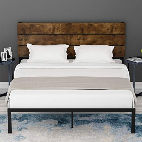Amolife Full Size Platform Bed Frame with Rustic Wooden Headboard / Mattress Foundation / Strong Metal Slats Support / No Box Spring Needed