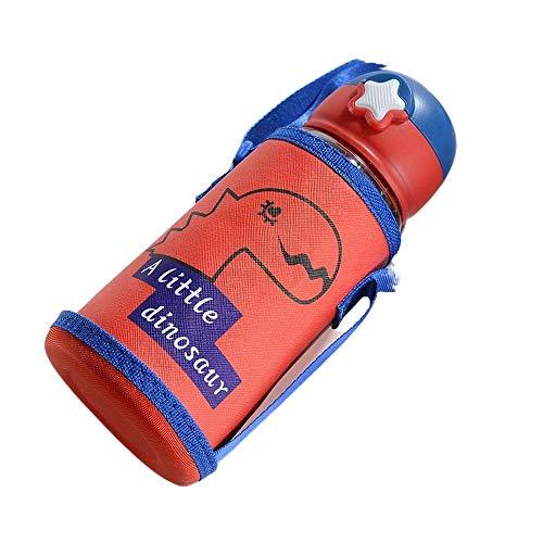 Yixin Botella de agua deportiva para niños de 24 onzas con boca ancha, botella de agua libre de BPA con pajita adecuada para botellas de bebida de estudiantes (rojo)