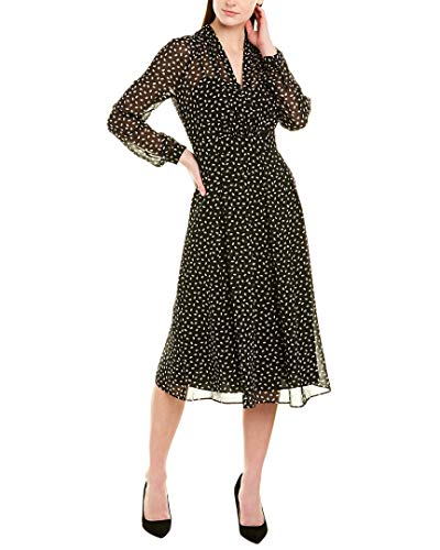 Anne Klein Women's Long Sleeve Vneck FIT and Flare Dress, Anne Black/Anne White, 6 (Apparel)