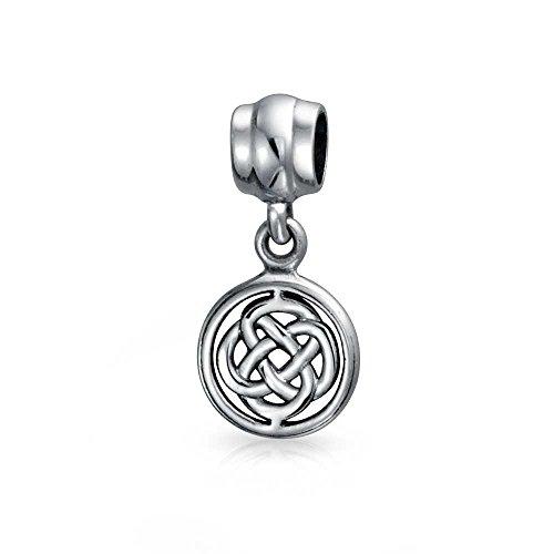 Round Celtic Love Knot Dangle Bead Charm For Women For Teen Sterling Silver Fits European Bracelet