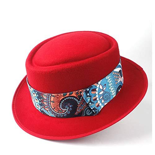 Bin Zhang Männer Frauen Pork Pie Hut mit blauem Band Papa Wolle Fedora Hut Trilby Porkpie Church Fascinator Hut Dance Party Hut (Farbe : Rot, Größe : 58)