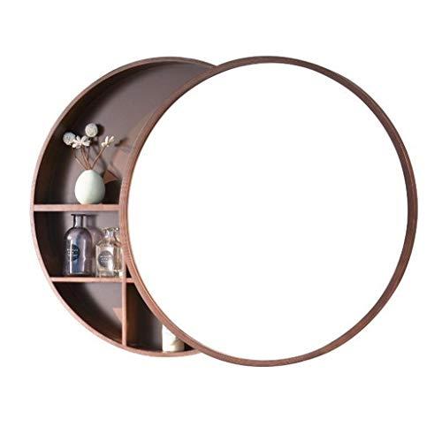 Armarios con espejo Mueble Espejo Redondo para baño Espejo de Madera Maciza Espejo de baño Armario de Pared Gabinete de Almacenamiento de Drogas Espejos de Aumento de Pared