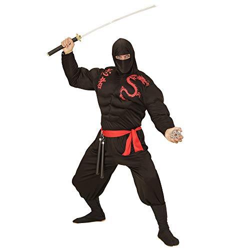 Widmann 00523 - Volwassen kostuum spieren Ninja, spiershirt, bivakmuts, broek en riem, zwart Large zwart