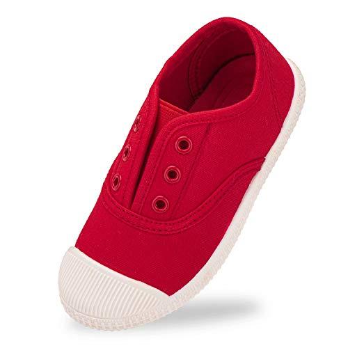 Harvest Land Mädchen Schuhe Jungen Sneaker Hausschuhe Turnschuhe Atmungsaktive Kinder Canvas Sportschuhe rutschfest Hallenschuhe,EU24,Rot