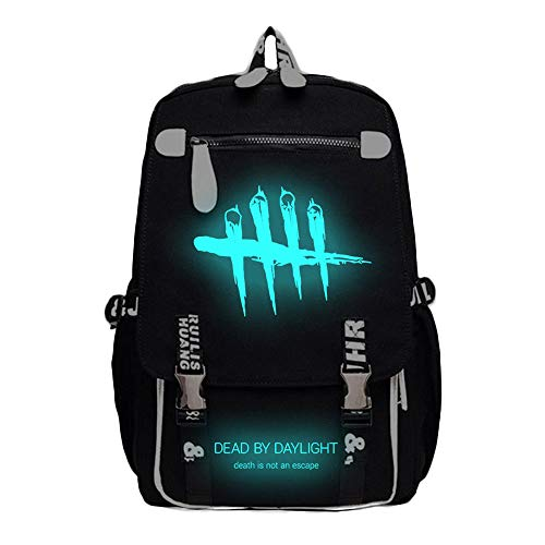 Outdoor-Reiserucksack, Dead by Daylight Game Print Studententasche, College-Laptop-Canvas-Rucksack (großer Raum, Schwarz, Leuchtend)