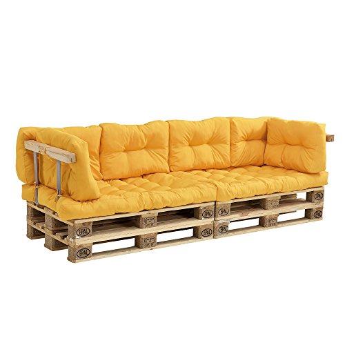 [en.casa]®] Sofá de palés - europalés con Cojines - (Mostaza) Set Completo, incluidos apoyabrazos y respaldos