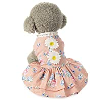 ペットの犬の服、春と夏のペットヴィンテージひまわりの花のエレガントなスカート ファッション美しいペットの服 (Size : M)