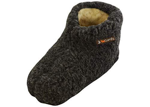 BeComfy Warme Hausschuhe Damen Herren Hüttenschuhe aus Schafwolle (43, Graphite)