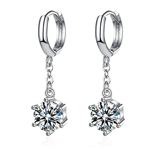 Pendientes de aro de plata esterlina para mujer pendientes largos de circonita a la moda accesorios de boda