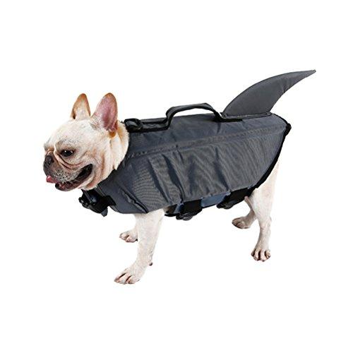 UEETEK Haustier Hund Schwimmweste Hund Floatation Weste Niedlichen Hai Hund CostuMe Welpen Sicherheit Badeanzug Bewahrer Kleidung für Schwimmen Größe M