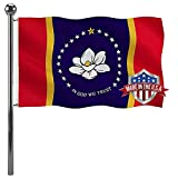 Jayus New Mississippi Ms State Magnolia Flag 3x5 Ft Outdoor- UV Fade Resistant State of Magnolia Mississippi Ms Flags- Heavy Duty Canvas Head in God We Trust Missippi Flag with 2 Brass Grommets
