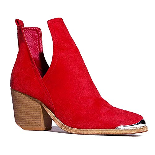 J. Adams Tess Booties for Women - Red Faux Suede Metal Pointed Toe - 7