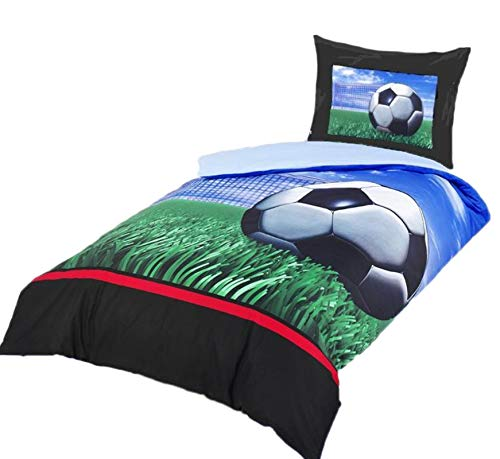 PremiumShop321 Kinder Bettwäsche Fußball 135x200 cm Baumwolle mit Reißverschluss (Fußball)