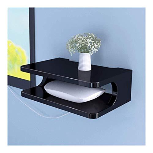 TB Drijvende plank voor TV-componenten, Metalen wandgemonteerde media-console, 2 lagen, voor kabelbox/router/afstandsbediening/dvd-speler/gameconsole (wit) Opslagrek