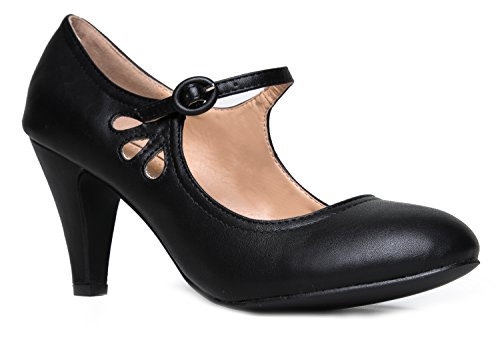 Kitten Heels Mary Jane Pumps By Zooshoo- Adorable Vintage Shoes- Unique Round Toe Design With An Adjustable Strap,Black,7 B(M) US