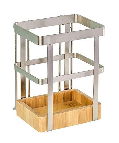 WENKO Utensilienhalter Premium - Aufbewahrungskorb für die Küche, vernickeltes Metall, 13 x 17 x 10 cm, Silber matt