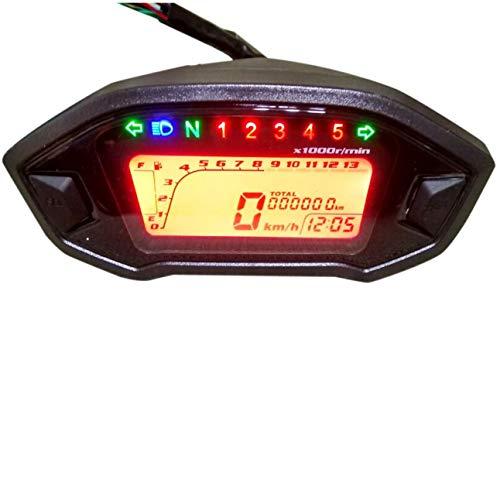 Monland LCD Universal Motorrad Tachometer Anzeige Kilometer Z?Hler 5 Gang 7 Hintergrund Beleuchtung 13000 U/Min 199 KMH MPH Motorrad Drehzahl Messer